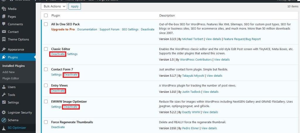 How to Deactivate plugins in WordPress.