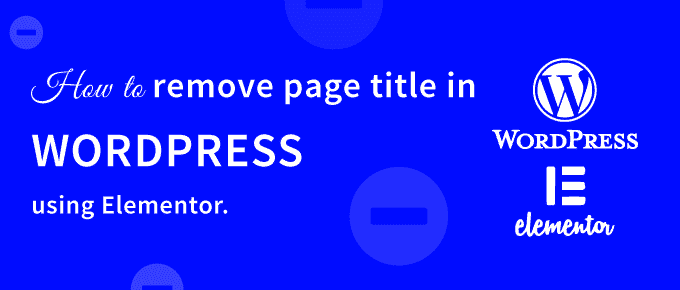 remove page title in WordPress