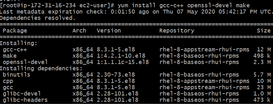yum install gcc-c++ openssl-devel make