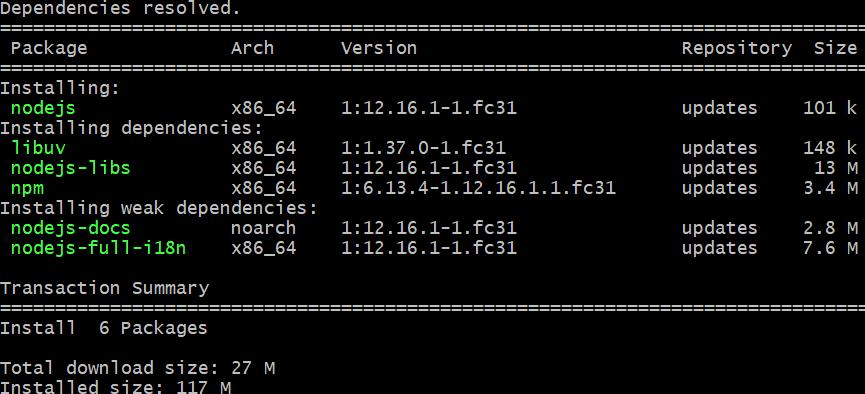 install MEVN Stack in Fedora